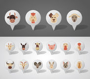 Farm animals mapping pins icons Royalty Free Stock Images