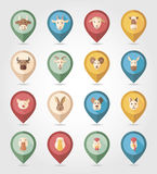 Farm animals mapping pins icons Stock Photography
