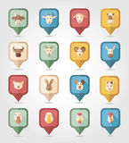Farm animals mapping pins icons Stock Photos