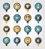 Farm animals mapping pins icons. With long shadow, eps 10 Stock Photos
