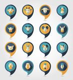 Farm animals mapping pins icons. With long shadow, eps 10 Royalty Free Stock Images