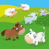 Farm Animals On The Meadow. Vector illustration of cow, horse, goat and sheep grazing on the meadow stock illustration