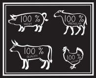 Farm animals. Monochrome illustration of four farm animals Royalty Free Stock Photos