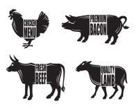 Farm animals. Monochrome illustration of four farm animals Stock Images