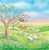 Farm animals in nature. Illustration of farm animals and nature Royalty Free Stock Photo