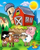 Farm animals near barn Royalty Free Stock Photography