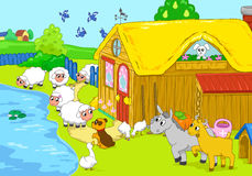 Farm and animals near lake. Children illustration. Royalty Free Stock Image