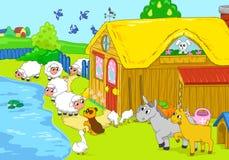 Farm and animals near lake. Children illustration. Royalty Free Stock Image