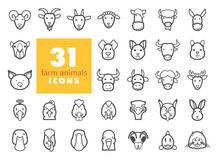 Farm animals outline icons set. Vector head Stock Photos