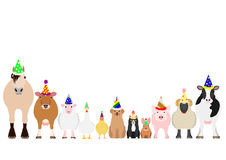 Farm animals with party hat border set Royalty Free Stock Photo