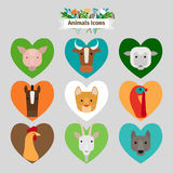Farm animals and pets avatars Royalty Free Stock Image