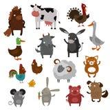 Farm animals pets vector cartoon Royalty Free Stock Image