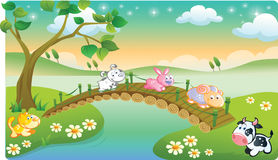 Farm animals playing with beautiful scenery Stock Images