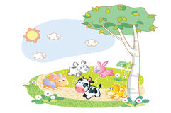 Farm animals playing in the garden Stock Images