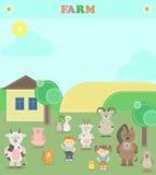 Farm animals. Plush animals. Illustration of a farm with animals Royalty Free Stock Images