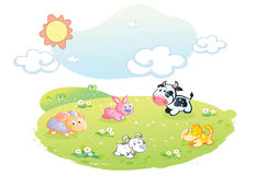 Farm animals posing at the garden Royalty Free Stock Images