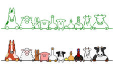 Farm animals in a row  with copy space Royalty Free Stock Photography