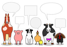 Farm animals in a row with speech bubbles.  stock illustration