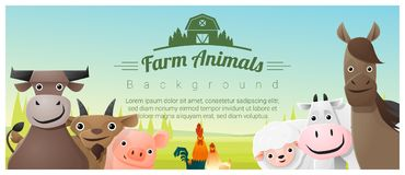Farm animals and Rural landscape background Stock Photos