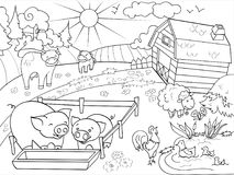 Farm animals and rural landscape coloring raster for adults. Farm animals and rural landscape coloring book for adults raster illustration. Anti-stress for adult Royalty Free Stock Photography