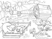 Farm animals and rural landscape coloring vector for adults. Farm animals and rural landscape coloring book for adults vector illustration. Anti-stress for adult Stock Photo