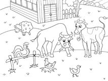 Farm animals and rural landscape coloring vector for adults Royalty Free Stock Photography