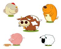 Farm animals set. Vector illustration of a set of cute farm animals. Animals include a cow, a sheep, a chicken and a dog. Each animal saved on a separate layer Stock Images