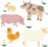 Farm animals set. Farm animals vector set isolated on white Stock Photos