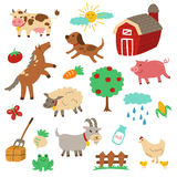 Farm Animals Set. A set of farm animals along with other elements - vector eps10 Stock Images
