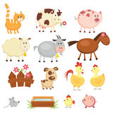 Farm animals. Set of cartoon farm animals vector illustration