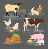 Farm animals set. Cartoon household icon collection. Vector illustration of pig, cow and rabbit. Chicken and lamb Royalty Free Stock Photography