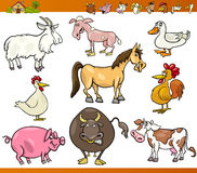 Farm animals set cartoon illustration. Cartoon Illustration Set of Comic Farm and Livestock Animals isolated on White Stock Image
