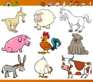 Farm animals set cartoon illustration. Cartoon Illustration Set of Comic Farm and Livestock Animals isolated on White Royalty Free Stock Photos