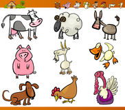 Farm animals set cartoon illustration. Cartoon Illustration Set of Funny Farm and Livestock Animals isolated on White Stock Image