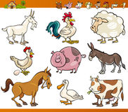 Farm animals set cartoon illustration. Cartoon Illustration Set of Cheerful Farm and Livestock Animals isolated on White Stock Photo