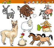 Farm animals set cartoon illustration Stock Images