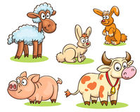 Farm animals set. Cartoon set of farm animals - rabbits, sheep, cow, pig, vector isolated on white Royalty Free Stock Photography