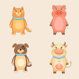 Farm Animals. Set - cat, dog, pig, cow Royalty Free Stock Photo