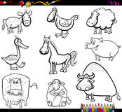 Farm animals set coloring book. Coloring Book Cartoon Illustration of Farm Animals Characters Set Royalty Free Stock Photo