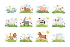 Farm animals set. Cute Farm animals set. Illustration with cartoon animals on green meadow. Vector illustration vector illustration