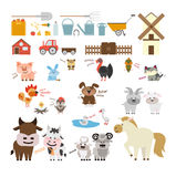 Farm animals set. Farm animals and equipment set. Cow and horse, goat and dog and more Royalty Free Stock Photos
