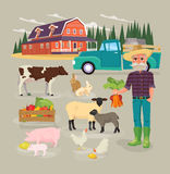 Farm animals set in flat style  on background. Vector illustration. Cartoon animals collection. Farming infographic elements. Farm animals. Farmer character Stock Images