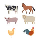Farm animals set in flat  style. With a chicken hen cock pig sheep beef dairy cow horse Stock Photo