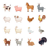 Farm animals set in flat style. Stock Photography