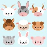 Farm animals set in flat style isolated on blue background. Vector illustration. Cute cartoon animals collection sheep, goat, cow vector illustration