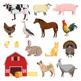 Farm animals set in flat style and related items. Royalty Free Stock Photos