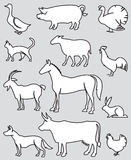 Farm animals set. Illustration of twelve farm animals on a gray background Royalty Free Stock Images