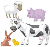 Farm animals set. Illustration set of farm animals on white Stock Images