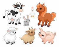 Farm animals set. The image of cute farm animals in cartoon style. Children's illustration. Vector set Stock Photos
