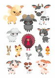 Farm animals set. The image of cute farm animals in cartoon style. Children's illustration. Vector set Royalty Free Stock Image